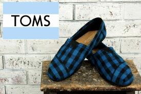 OUTLET TOMS トムズ チェック ウールミックスボアライナー シューズ/BLUE/BLACK