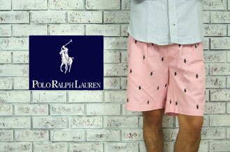 Ralph Lauren multi pony embroidered cotton TYLER shorts /PINK