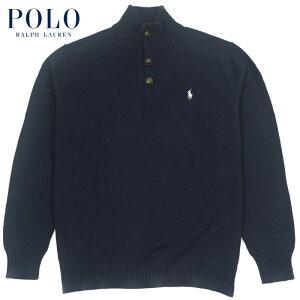 ラルフローレン POLO Ralph Lauren ハーフボタン ハイネック モックネック コットン セーター ネイビー