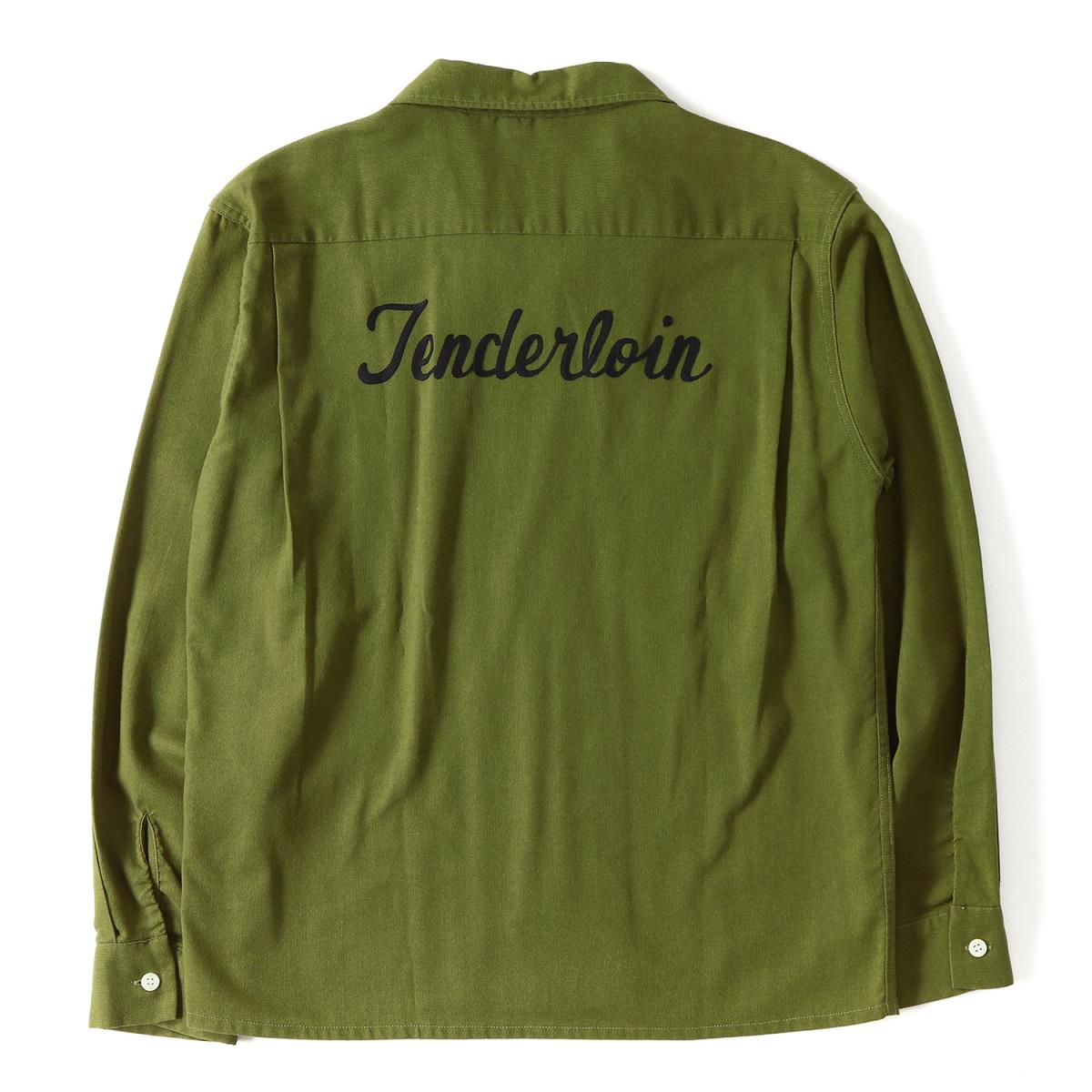 TENDERLOIN (テンダーロイン) ブランドロゴ刺繍ボーリングシャツ(T-BOWL SHT LONG) オリーブ S 【メンズ】【美品】【K2238】【中古】【あす楽☆対応可】