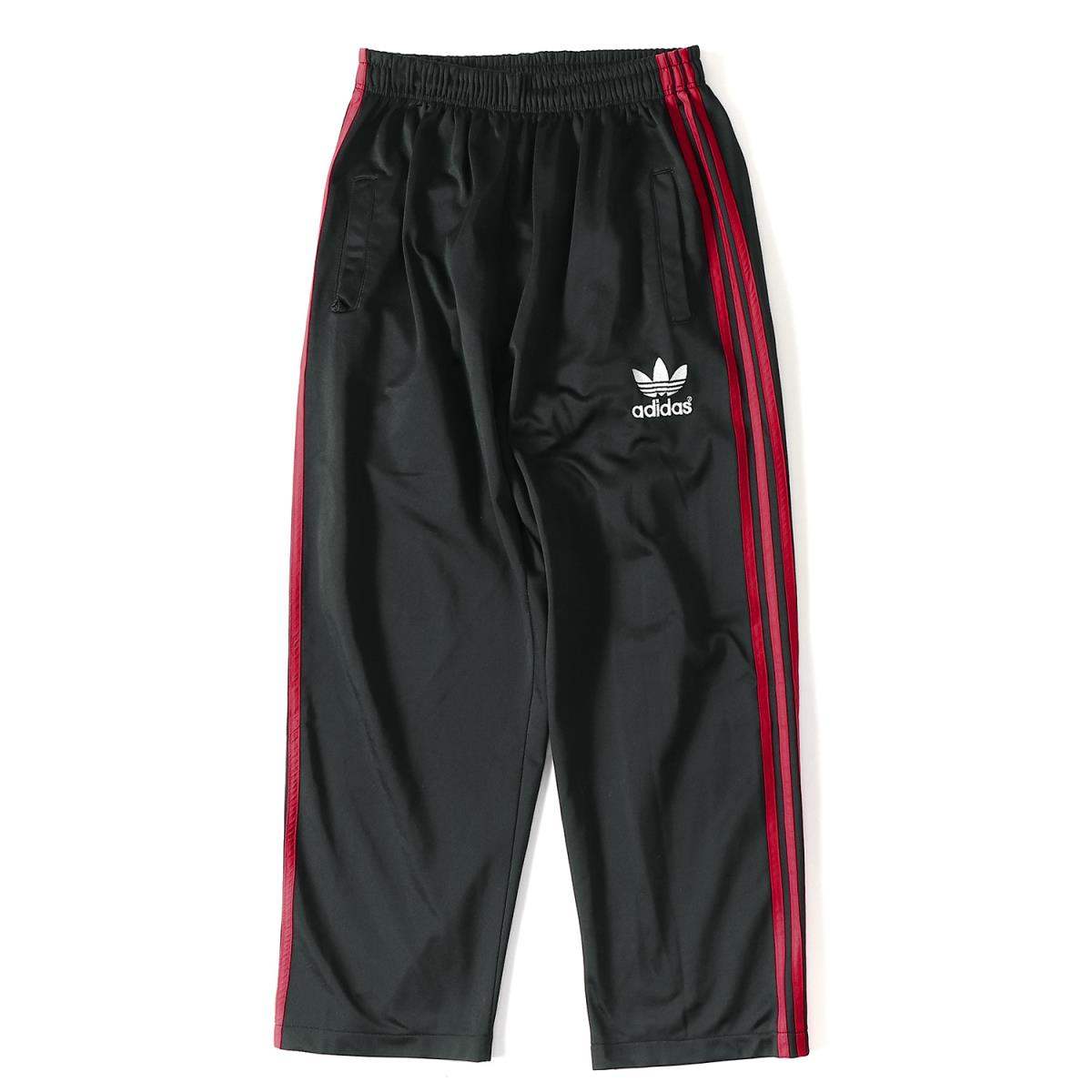 adidas (アディダス) 90's ジャージトラックパンツ ブラック×レッド 【メンズ】【K2044】【中古】【あす楽☆対応可】