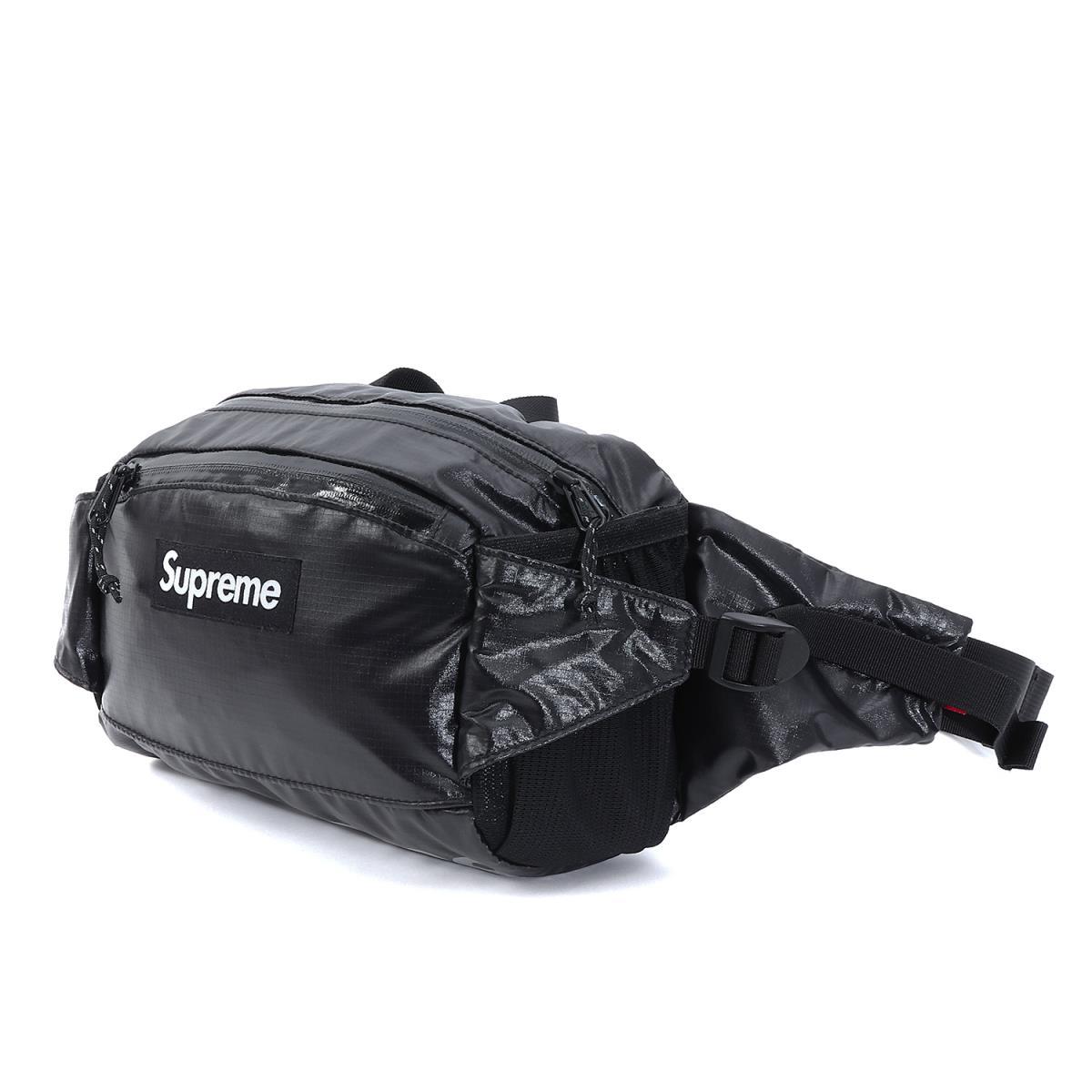 Supreme (シュプリーム) 17A/W シャイニーリップストップウエストバッグ(100D Cordura 4L Waist Bag) ブラック 【メンズ】【美品】【K2047】【中古】【あす楽☆対応可】