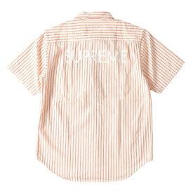 963b84c44c 中古 Supreme (シュプリーム) 17S S バックロゴストライプ半袖デニムシャツ(Stripe Denim S S Shirt)  オレンジ×ホワイト S  メンズ  美品  K2058  中古  あす ...