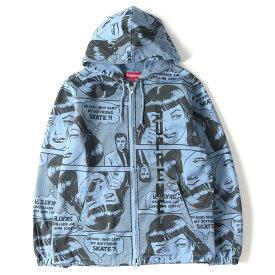 Supreme (シュプリーム) 17S/S ×THRASHER ポップアート柄ジャケット(Boyfriend Hooded Zip Up Jacket) ダスティーブルー S 【美品】【メンズ】【K2258】【中古】