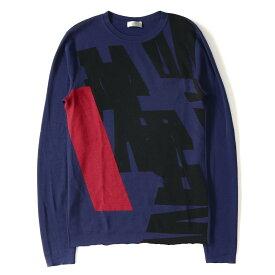 Dior HOMME (ディオールオム) 14S/S グラフィックデザインクルーネックウールニット ネイビー S 【美品】【メンズ】【K2247】【中古】【あす楽☆対応可】