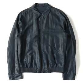 DOLCE&GABBANA (ドルチェ&ガッバーナ) シルクフルジップジャケット ネイビー 52 【美品】【メンズ】【K2453】【中古】