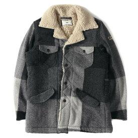 TMT (ティーエムティー) 16A/W ビッグブロックチェックボアランチコート(BIG BLOCK CHECK RANCH COAT) ブラック×グレー S 【美品】【メンズ】【K2407】【中古】【あす楽☆対応可】
