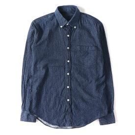 N.HOOLYWOOD (エヌハリウッド) シルクブレンドコットンボタンダウンシャツ ブルー 36 【メンズ】【K2262】【中古】【あす楽☆対応可】