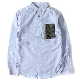 AVIREX (アヴィレックス) 迷彩柄ミリタリーポケット付きオックスフォードBDシャツ ブルー 【メンズ】【K2255】【中古】【あす楽☆対応可】