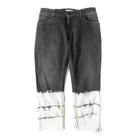 Palm Angels (パーム エンジェルス) ブリーチ加工ストレッチスキニークロップドデニムパンツ(SKINNY CROPPED FIT PANTS) ブラック×ホワイト 32 【メンズ】【K2316】【中古】【あす楽☆対応可】