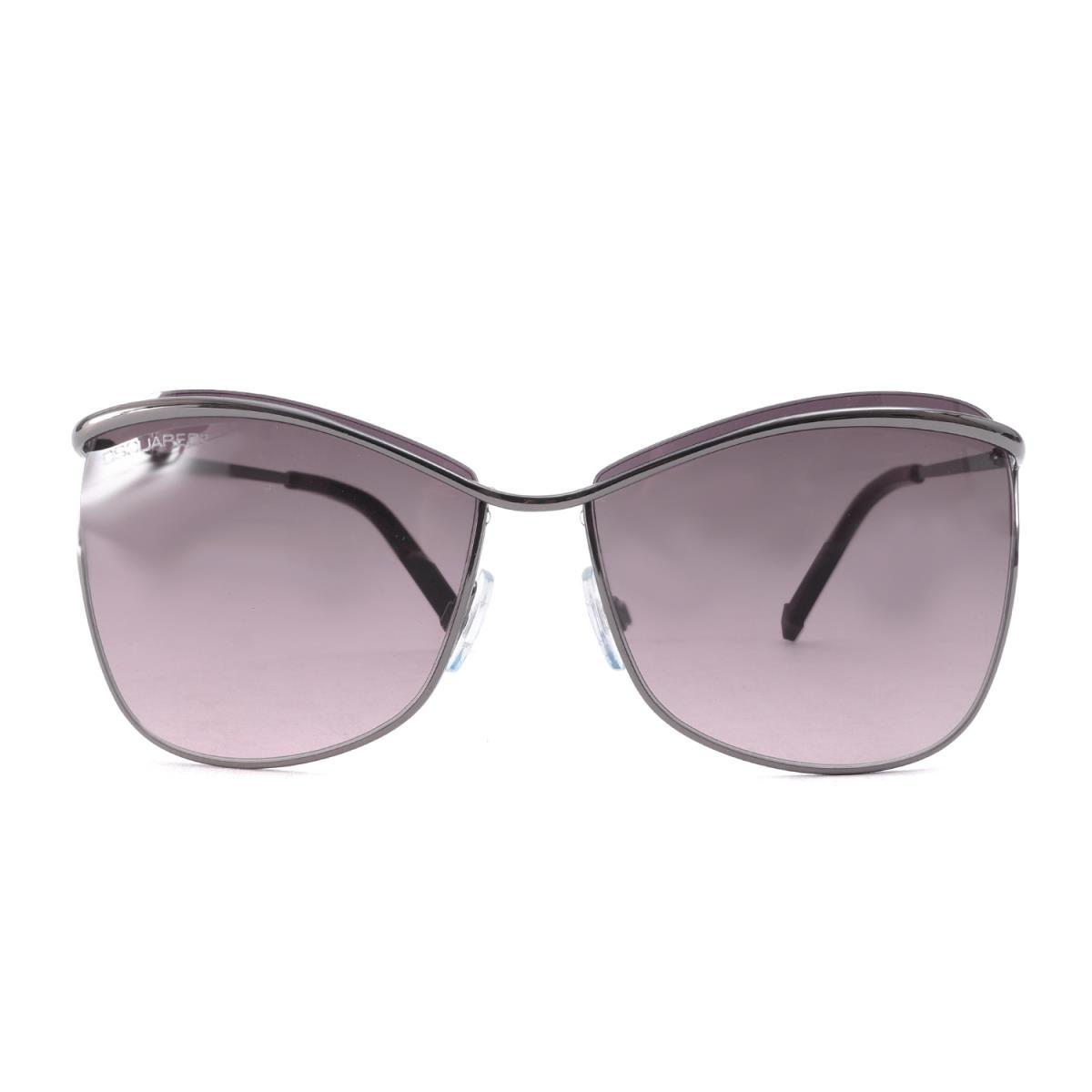DSQUARED2 (ディースクエアード) グラデーションレンズサングラス(Gunmetal Square Full Rim Sunglasses) ガンメタルフレーム×パープルグラデーションレンズ 60□15 【メンズ】【美品】【K2206】【中古】【あす楽☆対応可】