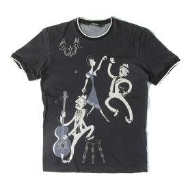 DOLCE&GABBANA (ドルチェ&ガッバーナ) Tシャツ 17SS キャラクター グラフィック トリム Tシャツ 17年春夏 ブラック 48 【メンズ】【K2350】【中古】