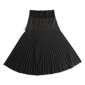Ballsey(ボールジー) レーヨン ナイロン ロングフレアスカート 18春夏 ブラック×ブラウン 【レディース】【美品】【K2222】【中古】
