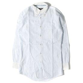BURBERRY (バーバリー) シャドーチェック柄クレリックボタンダウンシャツ(BLACK LABEL) ライトブルー 38 【美品】【メンズ】【K2513】【中古】