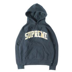 Supreme シュプリーム パーカー 18AW ウォーター アーチロゴ スウェット パーカー Water Arc Hooded Sweatshirt ネイビー S 【美品】【メンズ】【K2752】【中古】【あす楽☆対応可】