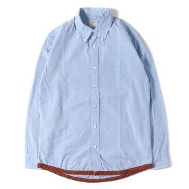 visvim (ヴィズビム) パイピングボタンダウンシャツ(ADOBE B.D. SHIRT L/S GIZA) ブルー S 【メンズ】【中古】【K2283】【あす楽☆対応可】