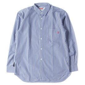 Supreme (シュプリーム) 12S/S ×COMME des GARCONS SHIRTS ストライプシャツ(Gusset L/S Shirt) ブルー×ブラック M 【メンズ】【K2456】【あす楽☆対応可】