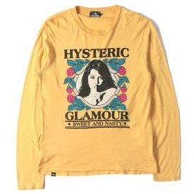 HYSTERIC GLAMOUR (ヒステリックグラマー) Tシャツ ガール イラスト クルーネック ロングスリーブ Tシャツ イエロー M 【メンズ】【中古】【K2284】【あす楽☆対応可】