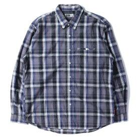 GOOD ENOUGH (グッドイナフ) 背ロゴタータンチェックボタンダウンシャツ パープル L 【メンズ】【中古】【K2642】