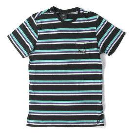 HUF (ハフ) 18A/W hufワッペン付きボーダーポケットTシャツ(S/S TEE BORDER 1993) ブラック×ターコイズ L 【メンズ】【中古】【美品】【K2299】