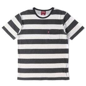 HIDE&SEEK (ハイドアンドシーク) Tシャツ ポケット ワイドボーダー Tシャツ ブラック×アッシュグレー M 【メンズ】【中古】【K2311】【あす楽☆対応可】