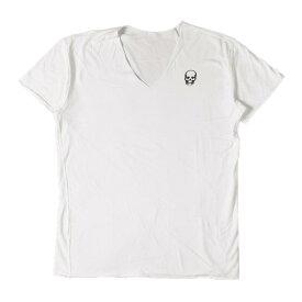lucien pellat-finet (ルシアンペラフィネ) Tシャツ ワンポイントスカルVネックTシャツ ホワイト XL 【メンズ】【中古】【美品】【K2350】【あす楽☆対応可】