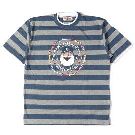 CAPTAIN SANTA (キャプテン サンタ) キャラクタープリントボーダーTシャツ ネイビー×ヘザーグレー L 【メンズ】【中古】【K2314】【あす楽☆対応可】