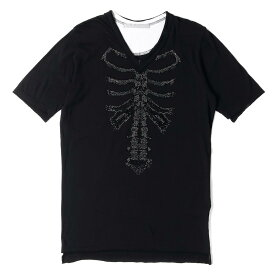 FranCisT MOR.K.S (フランシストモークス) ボーンラインストーンデザインカットオフVネックTシャツ 日本製 ブラック 3 【メンズ】【中古】【美品】【K2323】【あす楽☆対応可】