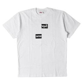 Supreme (シュプリーム) 18A/W ×COMME des GARCONS SHIRT BOXロゴTシャツ(Split Box Logo Tee) ホワイト M 【メンズ】【K2457】【あす楽☆対応可】