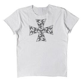 lucien pellat-finet (ルシアンペラフィネ) Tシャツ スカル 柄 アイアンクロス Tシャツ ホワイト XL 【メンズ】【中古】【美品】【K2350】【あす楽☆対応可】