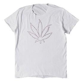 lucien pellat-finet (ルシアンペラフィネ) Tシャツ ラインストーン マリファナ Tシャツ ホワイト XL 【メンズ】【中古】【K2350】【あす楽☆対応可】