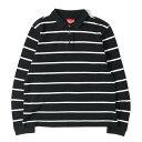 Supreme (シュプリーム) クラウン刺繍ロングスリーブ鹿の子ボーダーポロシャツ ブラック L 【メンズ】【中古】【K2493…