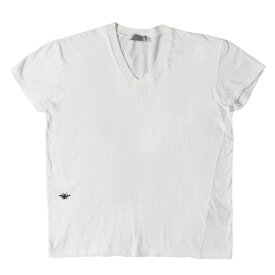 Dior HOMME (ディオールオム) Bee刺繍VネックTシャツ ホワイト XS 【メンズ】【中古】【K2332】【あす楽☆対応可】