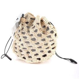 MARCHER(マルシェ) チュールラフィア巾着バッグ 19春夏 ベージュ×ブラック 【レディース】【K2336】