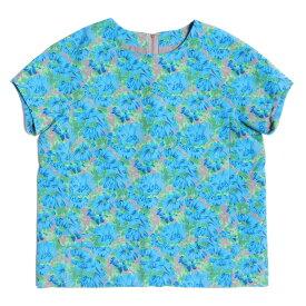 MUVEIL(ミュベール) フラワープリント 半袖クルーネックブラウス ブルー×グリーン×グレー 38 【レディース】【中古】【K2358】