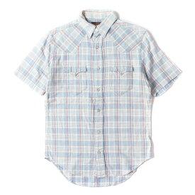 RRL (ダブルアールエル) ドビー刺繍インディゴチェック半袖ウエスタンシャツ ブルー XS 【メンズ】【中古】【K2358】【あす楽☆対応可】