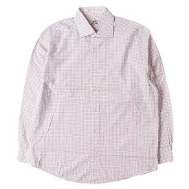 HERMES (エルメス) シャツ ゴールド セリエ ボタン付き グリッドチェック ワイドカラー コットン ボタン シャツ フランス製 ピンク×ホワイト 16(41) 【メンズ】【中古】【K2372】【あす楽☆対応可】