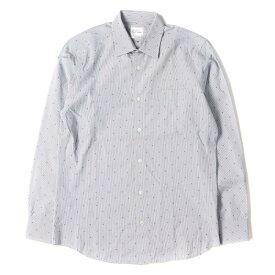 Paul Smith (ポールスミス) ドット刺繍ストライプボタンシャツ ライトグレー×ネイビー M 【メンズ】【中古】【美品】【K2376】【あす楽☆対応可】