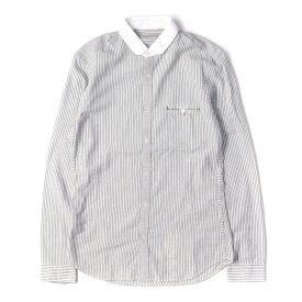 BURBERRY (バーバリー) ラウンドカラーストライプシャツ(BURBERRY BRIT) ホワイト×ネイビー S 【メンズ】【中古】【美品】【K2497】【あす楽☆対応可】