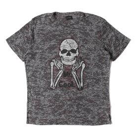 DIESEL (ディーゼル) Tシャツ スカル プリント 霜降り ニット Tシャツ グレー M 【メンズ】【中古】【美品】【K2383】【あす楽☆対応可】