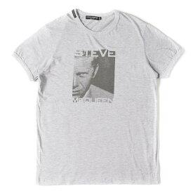 DOLCE&GABBANA (ドルチェ&ガッバーナ) Tシャツ Steve McQueen スティーブ・マックイーン フォト プリント クルーネック Tシャツ イタリア製 グレー 46 【メンズ】【中古】【美品】【K2396】【あす楽☆対応可】