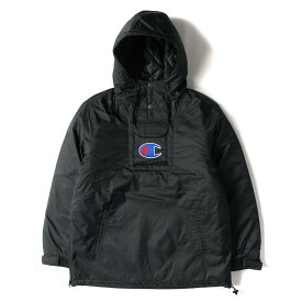 Supreme (シュプリーム) ジャケット 18SS × Champion ビックロゴ 刺繍 プルオーバー パーカー ジャケット Pullover Parka ブラック S 【メンズ】【K2772】【あす楽☆対応可】