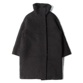 HERMES(エルメス) ウール スタンドカラーコート ブラック×ブラウン 34 【レディース】【中古】【K2419】