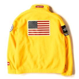 Supreme (シュプリーム) ジャケット 17SS THE NORTH FACE 星条旗 ポーラテック フリース ジャケット Fleece Jacket イエロー L 【メンズ】【中古】【K2429】【あす楽☆対応可】