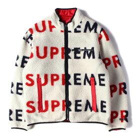Supreme (シュプリーム) ジャケット 18AW ロゴ柄 リバーシブル フリース ジャケット (Reversible Logo Fleece Jacket) ナチュラル×レッド L 【メンズ】【中古】【美品】【K2461】【あす楽☆対応可】