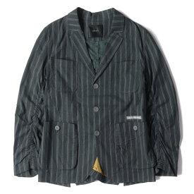 UNDERCOVER (アンダーカバー) ジャケット 17SS ストライプ パッカリング 3B テーラードジャケット ネイビー 2 【メンズ】【中古】【美品】【K2434】【あす楽☆対応可】