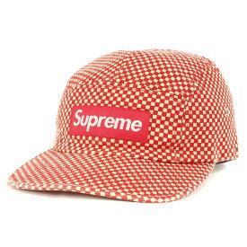 Supreme (シュプリーム) キャップ ミニ チェッカーフラッグ BOXロゴ キャンプキャップ Camp Cap レッド 【メンズ】【中古】【K2438】【あす楽☆対応可】