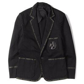 UNDERCOVER アンダーカバー ジャケット 09SS PILロゴ 刺繍 ストレッチ 1B テーラードジャケット ブラック 2 【メンズ】【中古】【美品】【K2448】【あす楽☆対応可】