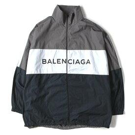 BALENCIAGA バレンシアガ ジャケット 18SS ブランドロゴ ポプリン シャツ トラック ジャケット Tracksuit Poplin Shirt Jacket 40 【メンズ】【中古】【美品】【K2454】【あす楽☆対応可】