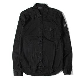 Belstaff ベルスタッフ シャツ 17SS ウォッシュ 加工 ストレッチ ツイル ボタン シャツ ブラック S 【メンズ】【中古】【K2753】